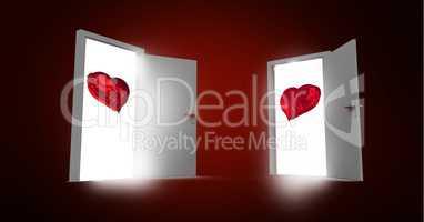 Open doors with red heart shape