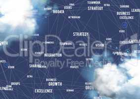 Business concept icons on clouds