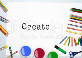 Text create with water colors and coloring pencil on white background