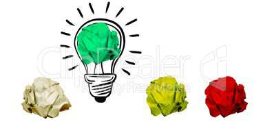 Crumpled paper on light bulb shape against white background