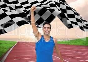 Athlete celebrating her victory with checkered flag on race track