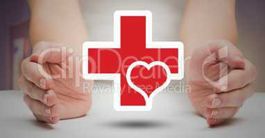 Woman hands protecting medical symbol