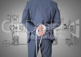 Digital composite of tied up businessman