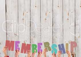 Hands holding membership word