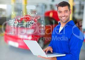 Portrait of a happy automobile mechanic holding laptop and mechanic interface