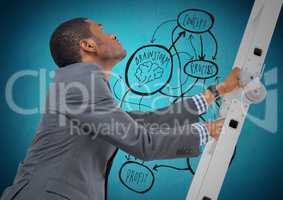 Businessman climbing the ladder against business process concept in background