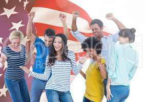 Colleagues dancing against american flag in background