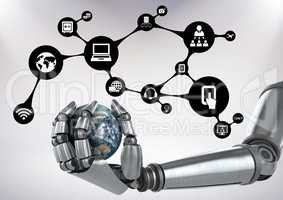 Robot holding globe with digital lifestyle concept against white background
