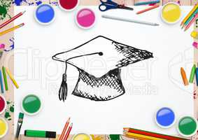 Hand drawn mortarboard with water colors and coloring pencil on white background