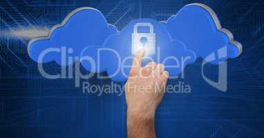 Man hand touching futuristic lock pad with cloud interface in background