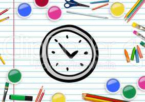 Drawn clock shape on paper with color pencils