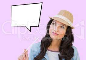 Businesswoman with blank speech bubble against purple background
