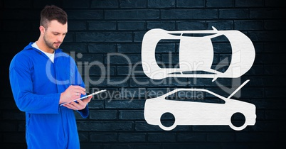 Automobile mechanic using digital tablet
