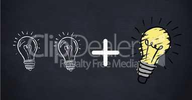 Conceptual image showing power efficiency light bulb