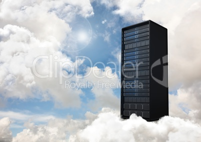 Data tower against sky in background