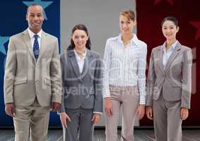 Business professionals standing together against france national flag