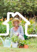 Home outline with senior woman gardening in background
