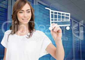 Woman drawing shopping cart sign on screen against server room in background