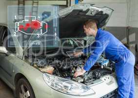 Mechanic repairing car by using car mechanic interface