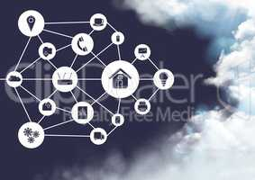 Conceptual image of cloud computing against sky in background