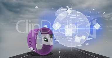 Digitally generated image of smart watch on highway