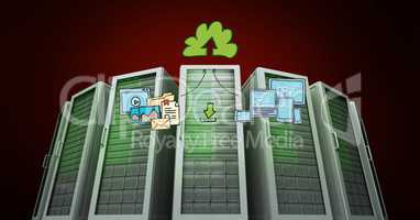 Database server systems with cloud computing concept on red background