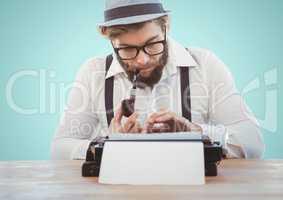 Retro style man smoking pipe and using a typewriter