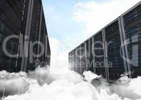 Data storage system towers against sky in background