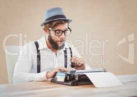 Retro style man holding smoking pipe and using a typewriter