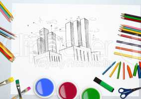 Hand drawn building with water colors and coloring pencil on white background