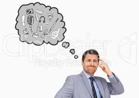 Businessman with various graphic icon on speech bubble