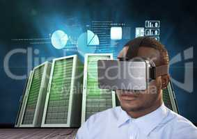 Man using virtual reality headset against data center background
