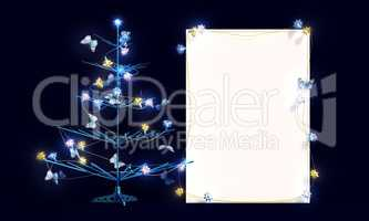 Mockup poster with Christmas tree and butterflies. Easel.