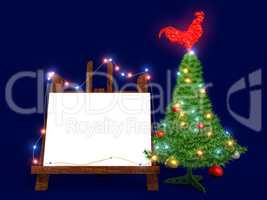 Mockup poster with Christmas tree and glass red rooster. Easel.