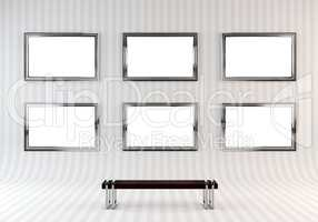 Gallery Interior with empty frame on wall.