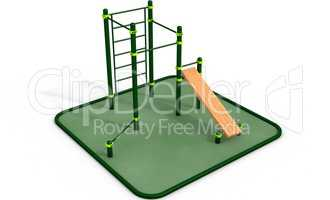 Parallel bars at sports ground for workout. 3D rendering.
