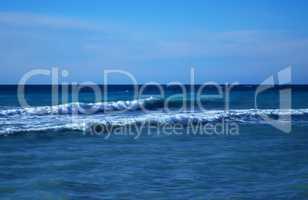Powerful waves of the sea foam