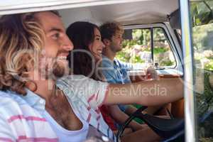 Friends travelling in campervan