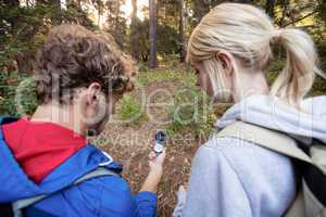 Rear view of hiking couple checking the compass