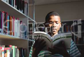 Attentive schoolboy reading book in library