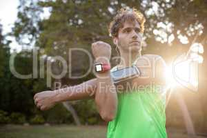 Man doing stretching exercise