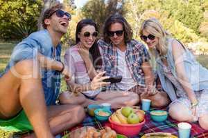 Friends having picnic in park