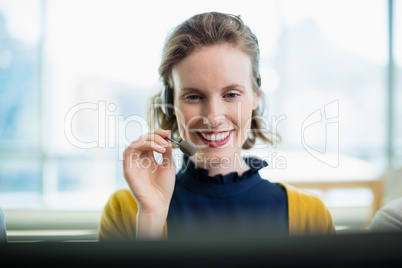 Customer service executive working in call center