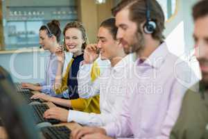 Customer service executives working in call center