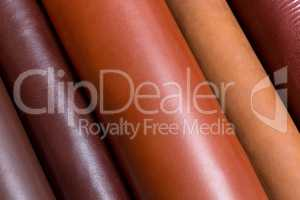 Natural shinny leather samples for fashion industry.