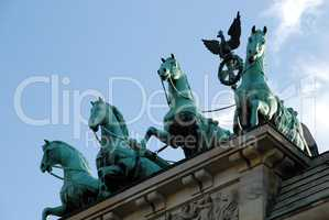 The Brandenburg Gate quadriga in Berlin, Germany