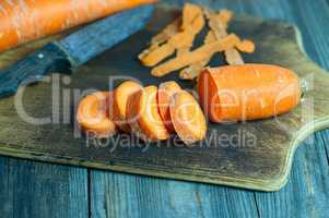 Chopped carrot on a chopping board slices