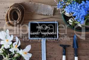 Spring Flowers, Sign, Text Wish You Easter Happiness