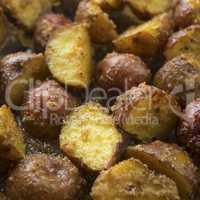 Oven roasted potatoes close up