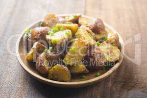 Oven roasted potatoes on plate ready to serve